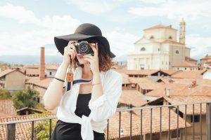 Fotocamera vrouw vakantie