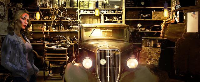 Oude auto vrouw garage